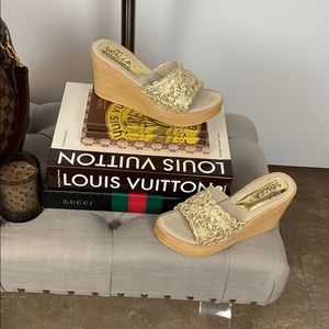 Sbicca Hand Made In California Gold Wedges Sandals
